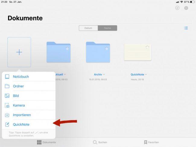 Mit der neuen Funktion QuickNote kannst du nahezu ohne Zeitverzögerung eine Notiz schreiben.
