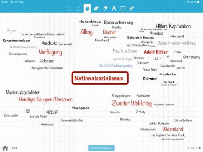"""Auf dem Bild siehst du eine Mindmap zu den Präkonzepten des Themas """"Nationalsozialismus"""" im Geschichtsunterricht, die mit BaiBoard 3 erstellt wurde. Die Schülerinnen haben die Mindmap in Zusammenarbeit aber doch allein erstellt."""