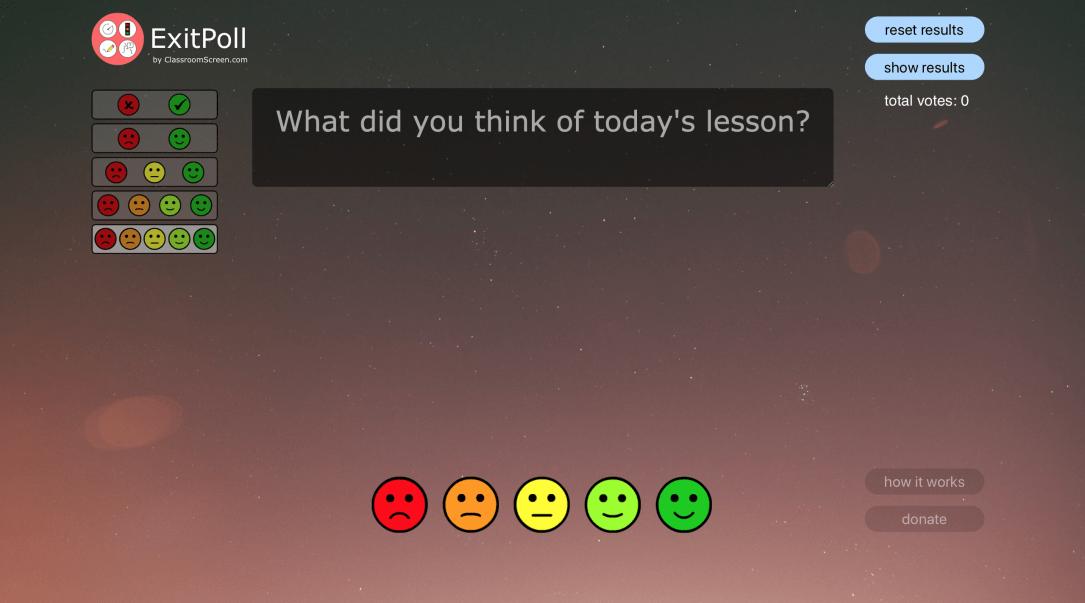 Mithilfe des Exit-Polls kannst du einen Eindruck zum Gefallen der Unterrichtsstunde einsammeln.