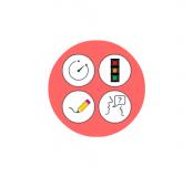 In ClassroomScreen kannst du verschiedene Widgets anordnen, zum Beispiel einen QR-Code, einen Timer, eine Uhr oder Arbeitssysmbole.