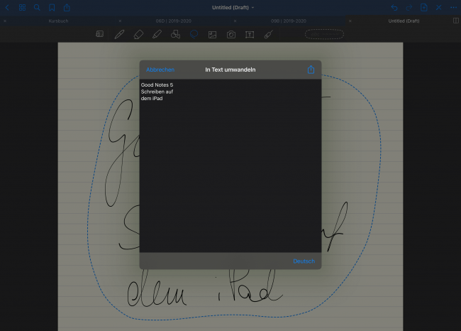 In GoodNotes 5 kannst du deine Handschrift mit einer mächtigen Texterkennung in digitale Schrift umwandeln.