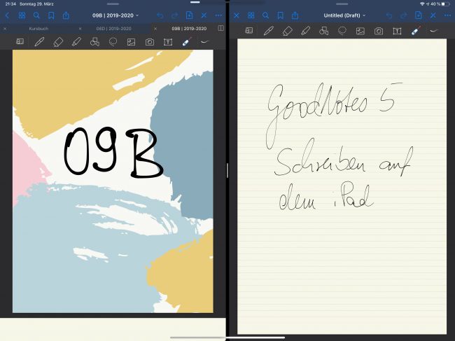 In GoodNotes 5 kannst du jetzt 2 Dokumente nebeneinander öffnen. So kannst du ein Dokument betrachten und nebendran Notizen anfertigen.