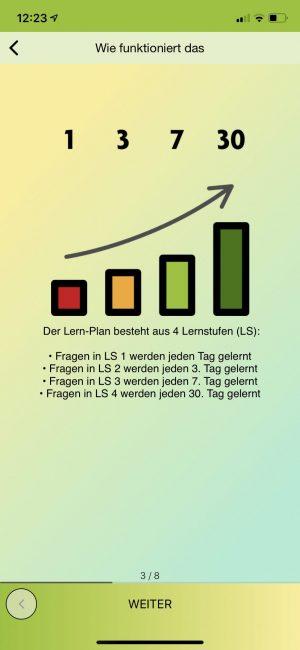 Mit dem Lernplan bekommen deine Lernenden Dinge in unterschiedlicher Frequenz angezeigt, um das Langzeitgedächtnis hinsichtlich des Lernstoffes zu fordern.