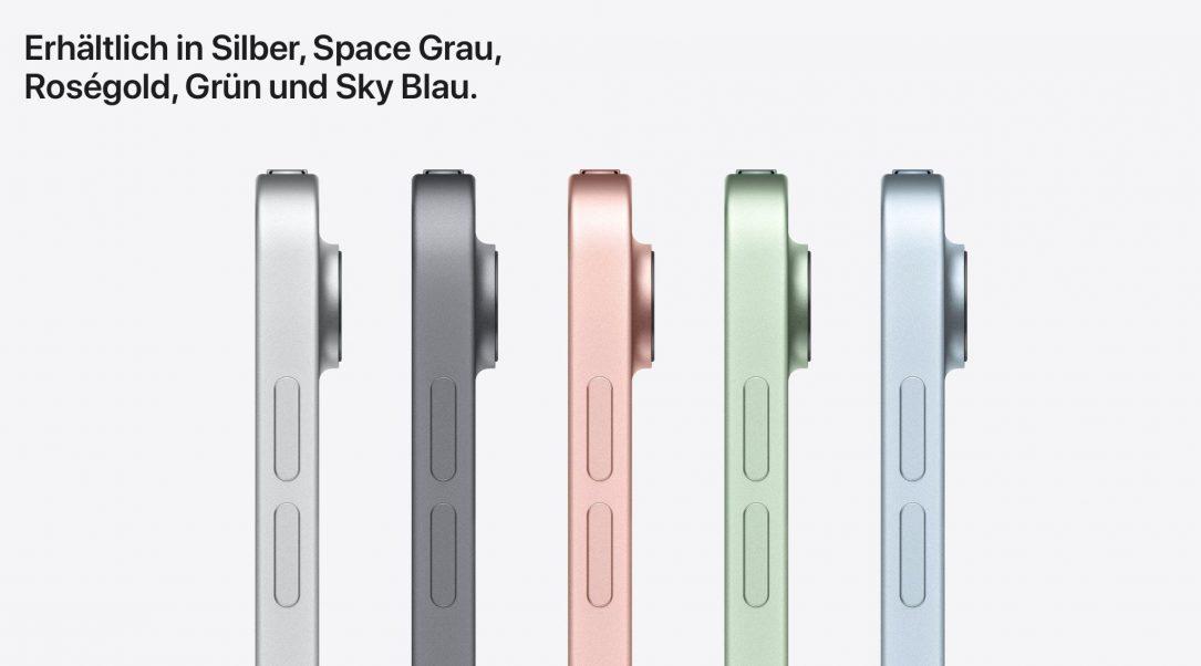 Es gibt das iPad Air in den Farben silber, spacegrau, roségold, grün und sky blau. (Q: www.apple.com)